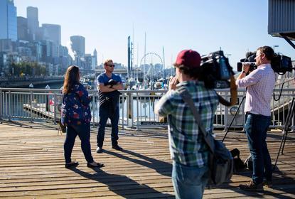 Filming in  Seattle