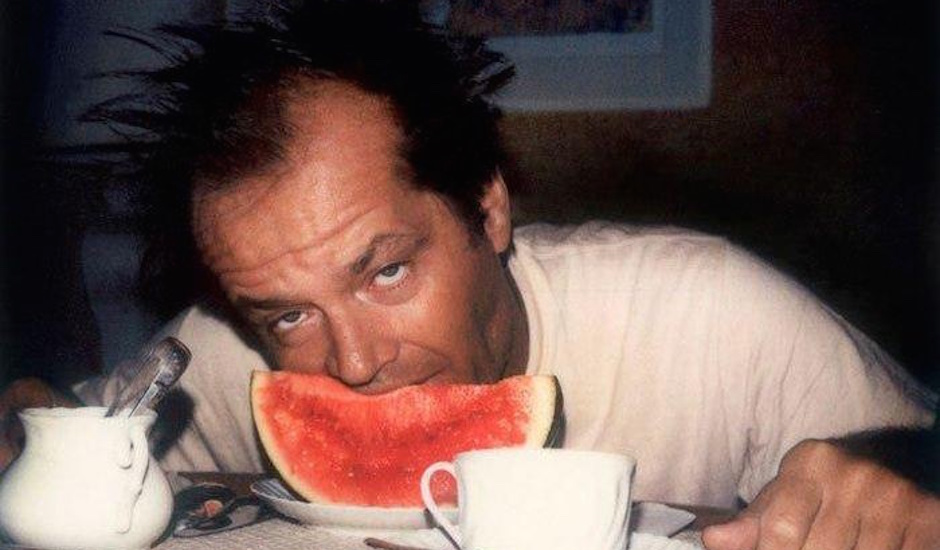 hungover jack nicholson eatting a watermelon