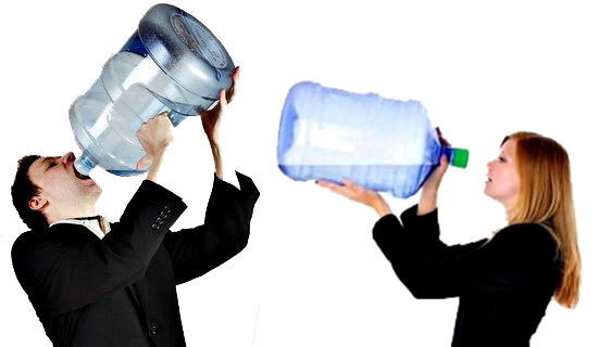 a man and a woman drinking out of giant water bottles