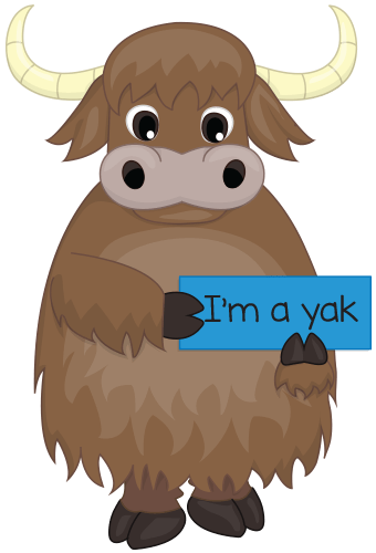 Illustration of yak holding a sign that says