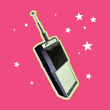 colorful walkie talkie print. hot pink with stars.